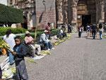 vor den Kirchen - Palmgeflechte werden gefertig