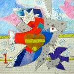 Collage Buntstift a. Papier - 18 x 18 cm