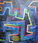 Labyrinth, Spachtelzeichnung in nasse Farbe auf Papier - 80 x 70 cm