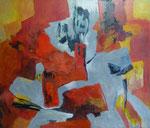 """""""Komposition"""" - Acryl / Collage auf LW - 120 x 140 cm"""