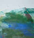 Acryl a. LW - 90 x 80 cm - bewegliche Windräder