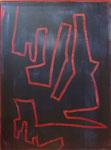 Linienverführung, Spachtelzeichnung in nasse Farbe auf Papier - 80 x 60 cm