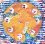Maltorte, Acryl auf Stoff - 70 x 70 cm