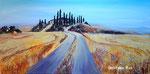 Toskana-Landschaft - Acryl mit Spachteltechnik - 50 X 100 cm