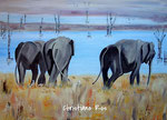 Elefanten auf Sri Lanka - Acryl - 50 X 70 cm