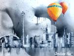Toronto mit Heißluftballons - Acryl - 60 X 80 cm