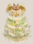Торт из памперсов в подарок для новорожденных двойняшек ©