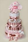 """© Торт из памперсов и пелёнок подарок для новорожденной девочки """" Конфетный Зайка"""""""