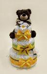 """Торт из памперсов """"Мишка очень любит мёд!"""". Подарок на рождение для мальчика или для девочки."""