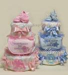 Торты из памперсов в подарок для новорожденных двойняшек ©