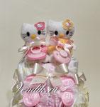 """Торт из памперсов """"Kitty"""". Подарок на рождение двойняшкам."""