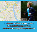 7 kilometers / 4.3 miles (beeline) is the actual distance in Cologne between the Beschenko apartment and the Bergmann villa.