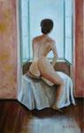 La fenêtre  (huile sur toile 75X45 cm), Indisponible
