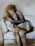 Sasha lisant (huile sur toile 62X50)