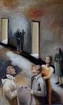 Les Badauds, acrylique sur toile, 115X70