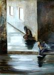 Dans la rue (Acrylique sur toile 65X50 cm)