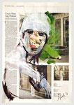 cremefarbene Mode , 2013, 40 X 55, Tempera auf Zeitungspapier