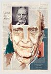 """Norberto Bobbio, """"…das ungeheilte Gewissen…"""", Rechtsphilosoph,  2006, 40 X 55, Tempera auf Zeitungspapier"""