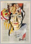 Dario Fo, 2015, 40 x 55, Gouache und Tempera auf Zeitungspapier