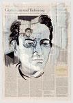Ludwig Hohl, hing seine Texte zu Hause auf der Wäscheleine auf, 2008, 40 X 55, Tempera auf Zeitungspapier ,