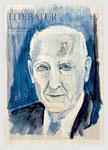 Isaak Bashevis Singer, lebte im Schtetl/New York,Literat , 2009, 40 X 55, Tempera auf Zeitungspapier