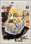 Harry Rowohlt, 2015, 39 X 56 ,Gouache und Tempera auf Zeitungspapier