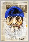 Harry Rowohlt, 2015, 39 x 51 ,Gouache und Tempera auf Zeitungspapier