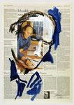 """John Ford , """"…der Mangel an Fantasie…""""; 2007, 40 X 55, Tempera auf Zeitungspapier"""