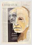 Jean Amery, Jude, KZ-Überlebender, Widerständler, Philosoph, 2007,39 X 56, Gouache und Tempera auf Zeitungspapier