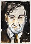 Siegfried Kracauer, Philosoph, 2013,  40 X 55, Gouache und Tempera auf Zeitungspapier