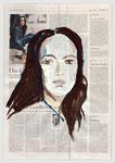 Norah Jones,Jazzsängerin, Tochter von Ravi Shankar, 2005, 39 X 56, Gouache undTempera auf Zeitungspapier