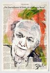 Alfred Grosser,   deutsch-französischer Journalist, 2013, 39 X 51, Gouache und Tempera auf Zeitungspapier
