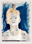 Wissen - Junge, 2004, 39 X 56, Gouache und Tempera auf Zeitungspapier