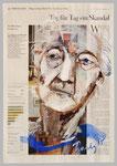 Pflegeskandal, 2015, 40 x 55, Gouache und Tempera auf Zeitungspapier