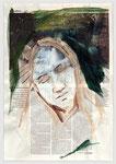 Britta Steilmann, eine starke Frau, Ökomode, plädiert für die Stille, 2006, 40 X 55, Tempera auf Zeitungspapier