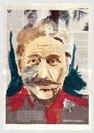Werner Ferrat - ein Kindermörder hat nicht alle Taten begangen  für die er verurteilt wurde, 2003, 39 X 56, Gouache und Tempera auf Zeitungspapier
