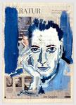 """Paul Auster, """"Die Wundertüte des Schicksals"""",  2006, 39 X 56, Gouache und Tempera auf Zeitungspapier"""