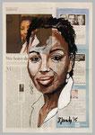 Marie N'Diaye, 2015, 40 x 55, Gouache und Tempera auf Zeitungspapier