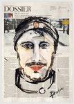 Marco Maurer,...Ich, Arbeiterkind, 2013, 40 X 55, Tempera auf Zeitungspapier