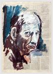 Karl Lamers - Der Rheinische,  2001, 40 X 55, Tempera auf Zeitungspapier