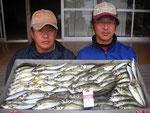 5月16日 ボートからのサビキ釣りで藤森さんと中満さん アジ25㎝を頭になんと73匹