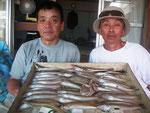 7月31日 ボート釣りで甲斐さんと宮本さん キス27㎝~18㎝44匹 18㎝以下リリース