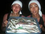8月9日 ボート釣りで西さん・園田さん キス25㎝を頭に43匹 小鯛24㎝