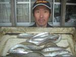 4月5日 ボート釣りで竹原さん キス22匹