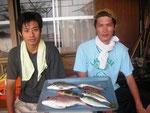 8月22日 ダゴチン釣りで上田さん・岩下さん タイ32㎝ メイタ1匹 アジ2匹 キス1匹 ハタ1匹 ラギス2匹