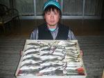 5月4日 ダゴチン釣りで福田さん メイタ33㎝~25㎝・11匹・アジ25㎝~20㎝・23匹