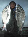 2月20日 磯釣りで中川さん 良型チヌ49㎝・45㎝