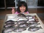 6月25日 フカセ釣りで東さん クロ31㎝を頭に9匹 アジ27㎝を頭に8匹