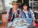 8月10日 ボート釣りで野崎夫婦 キス26匹 トラギス6匹
