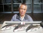 5月18日 磯釣りで西田さん 良型チヌ48.5・44㎝.・43㎝